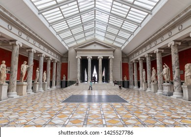 Auditorium at Ny Carlsberg Glyptotek art museum, floor empty and without chairs, in Copenhagen, Denmark on May 21.2019.