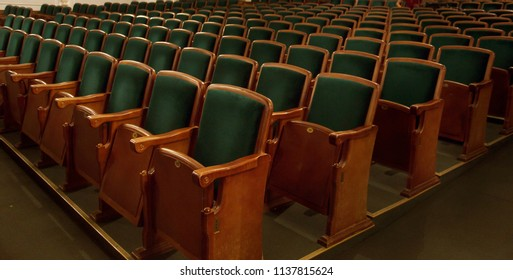 The auditorium of the theater with seats, seats for spectators. Interior of the Drama Theater. Audience room