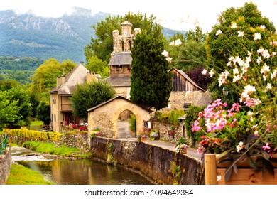 Audressein village in Ariege department, in Pyrenees mountains, Occitanie region, France