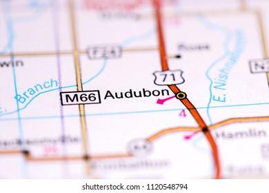 Audubon. Iowa. USA on a map