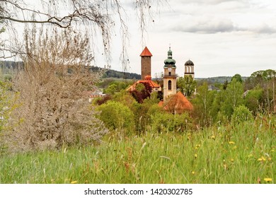 """Auerbach is a town in the Vogtlandkreis, Saxony, Germany. It is the regional centre of the eastern Vogtland.  The three tall buildings give Auerbach its nickname """"the Three Towers Town""""."""