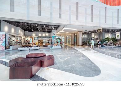 Aug 04, 2018 ShenZhen, China: Inside Modern WongTee Plaza shopping mall in Futian district.