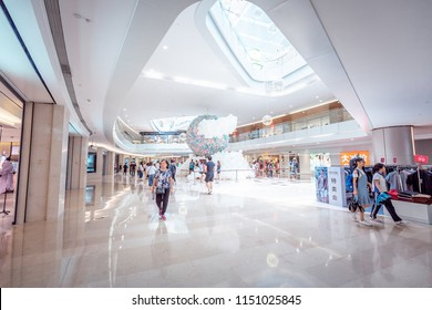 Aug 04, 2018 ShenZhen, China: Inside Modern WongTee Plaza shopping mall in Futian district.