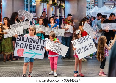 Aug. 1, 2015 Toronto,Ontario, Candlight Vigil for Suruc Victims at Yonge Dundas square held to remember the 32 victims of the suicide bombing in Suruc, Turkey.