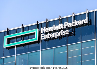 Aug 13, 2019 San Jose / CA / USA - Hewlett Packard Enterprise (HPE) logo at the Company's new corporate headquarters located in Silicon Valley; HPE is an American multinational enterprise IT company