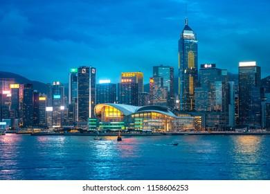 Aug 17, 2018 : Victoria Harbor, Hong Kong. Look out from Tsim Sha Tsui coastal.