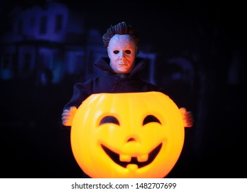 AUG 18 2019:  Halloween Michael Myers holding a glowing jackolantern pumpkin - custom Mego style action figure