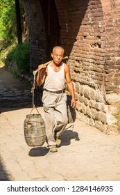 Aug 2013 - Zhangbi Cun, China - Daily life scenes in the streets Zhangbi Cun, a village near Pingyao famous for it's underground fortress which is the oldest and longest network of tunnels of all of C