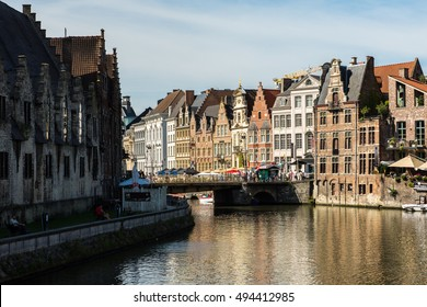 Aug, 2015 - Gent, Belgium: Buildings and a lot of tourists in Gent.