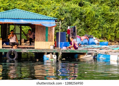 Aug 2016 - Halong Bay, Vietnam – Daily life scenes in one of the Fishermen villages in Halong Bay. Set in the gulf of Tonkin, Halong Bay is a UNESCO World Heritage Site known for its karst formations