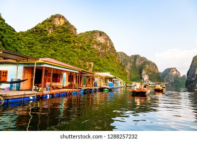 Aug 2016 - Halong Bay, Vietnam – Fishermen floating village in Halong Bay. Set in the gulf of Tonkin, Halong Bay is a UNESCO World Heritage Site, famous for its karst formations.