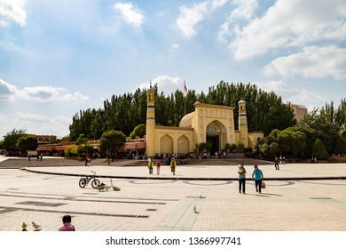 Aug 2017, Kashgar, Xinjiang, China: view of Id Kah Mosque, the most famous attractions in Kashgar Ancient Town. Built in 1442, it is the largest mosque in China