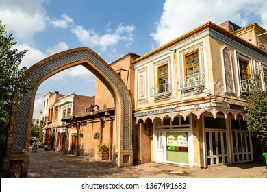 Aug 2017, Kashgar, Xinjinag, China: arabic style decorated buildings in the streets of Kashgar Ancient Town. Kashgar is a popular tourist place along the Silk Road and one of the westernmost cities of