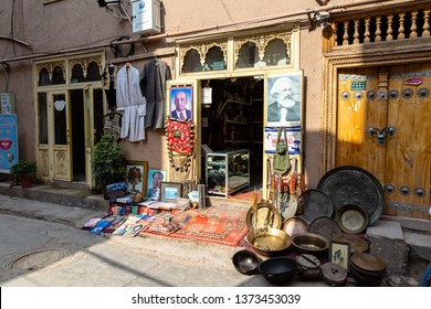 Aug 2017, Kashgar, Xinjinag, China: small local Uighur shop in the streets of Kashgar Ancient Town. Kashgar is a popular tourist place along the Silk Road and one of the westernmost cities of China