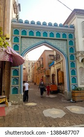Aug 2017, Kashgar, Xinjinag, China: arabic style decorated archway in the streets of Kashgar Ancient Town. Kashgar is a popular tourist place along the Silk Road and one of the westernmost cities of C