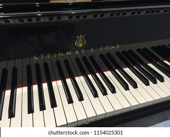 Aug 2018 - Tokyo, JAPAN: Keys of Steinway & Sons Grand Piano. Steinway & Sons is the world's premier piano manufacturer.