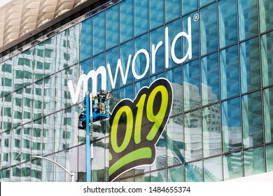 Aug 21, 2019 San Francisco / CA / USA - Close up of unfinished VMworld 2019 sign displayed on the Moscone Center facade, a global conference for virtualization and cloud computing, hosted by VMware.