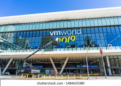 Aug 21, 2019 San Francisco / CA / USA - VMworld 2019 (incomplete) sign displayed on the Moscone Center facade; VMworld is a global conference for virtualization and cloud computing, hosted by VMware.