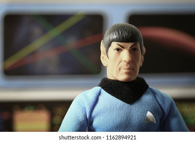AUG 22 2018: Recreation of a scene from Star Trek Original Series with Mr. Spock on the bridge of the USS Enterprise - Mego vintage action figures