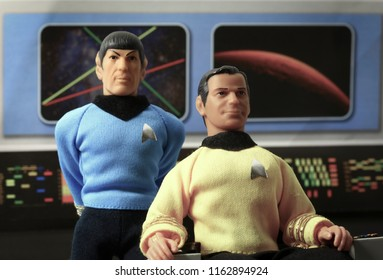 AUG 22 2018: Recreation of a scene from Star Trek Original Series with Captain James T. Kirk and Mr. Spock on the bridge of the USS Enterprise - Mego vintage action figures