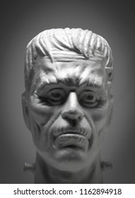 AUG 22 2018: Studio portrait of a Styrofoam Frankenstein's Monster head - Halloween decoration