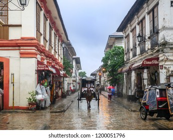 Aug 24,2018 Vigan City, Philippines - A wagon on a rainy day