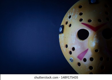 AUG 25 2019: Studio portrait of the hockey mask worn by slasher Jason Voorhees from the Friday the 13th movie franchise