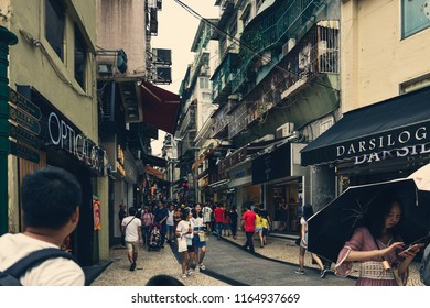 Aug 27, 2018, Macau: Crowd of Tourists in the city centre of Macau