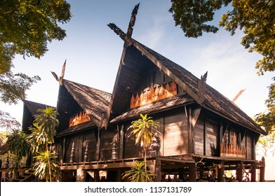 Aug 3, 2013 Chiang Mai, THAILAND - Northern Thai wooden architecture of Baan Dum Museum (Black house), former hosue of Thawan Duchanee - Thailand national artist.