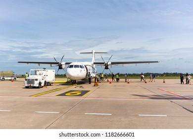 Aug 30,2018 -Bangkok airways airplane with passengers getting in ATR plane
