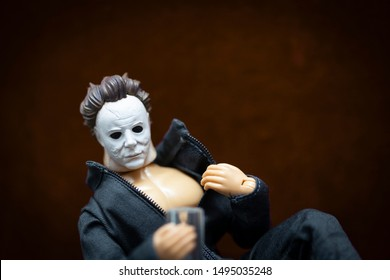 "AUG 31 2019: Recreation of the humorous meme ""Hello October. I've been waiting for you"" with Halloween killer Michael Myers in suggestive pose - Custom action figure using Funko Savage head Mego body"