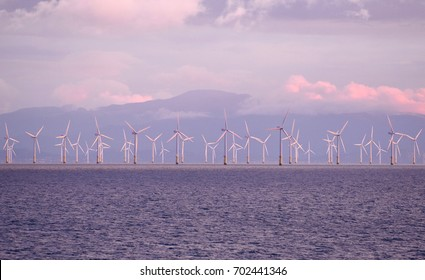 Aug 8, 2017, Wind Turbines, The Irish Sea near Liverpool, The United Kingdom. The Burbo Bank Wind Farm is part of one of the largest in the world.  It is located near the mouth of the River Mersey.