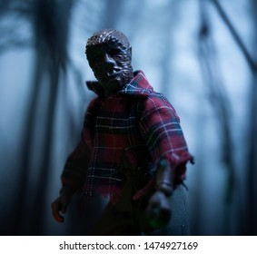 AUG 9 2019: Horror movie werewolf lurking in the forest at night during a full moon - Mego action figure