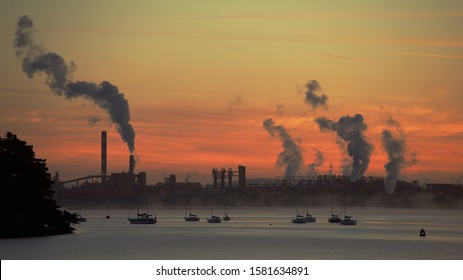 Aughinish Alumina, Co. Limerick / Ireland - September 24 2018: Early morning operations at the plant, located on the Shannon Estuary.