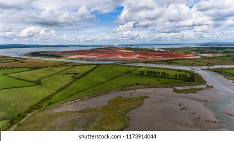 Aughinish Alumina Refinery, Foynes,Ireland - 29th August, 2018: Aerial view of Aughinish Alumina Refinery on the Shannon River , Co Limerick, it is The largest alumina refinery in Europe.