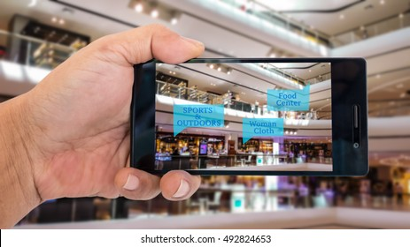 Augmented reality application for retail business concept. Hand holding smart phone with A/R application on screen to finding shop in department store. Represent A/R application in business.
