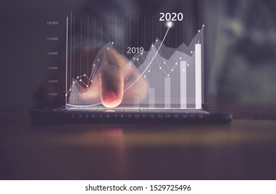 Augmented reality (AR) financial charts showing growing revenue In 2020 floating above digital screen smart phone, businesswoman having meeting about strategy for growth and success