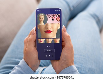 Augmented Reality Beauty App. Woman Trying Different Lipstick Color Online On Smartphone, Using Modern Application With AR Makeup Simulation, Creative Collage