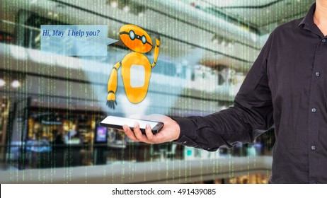 Augmented reality chatbot for retail business concept. Man holding smart phone with A/R chatbot and greeting message on blur department store background.
