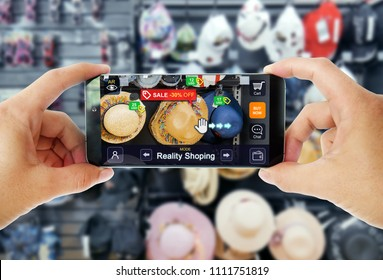 Augmented reality concept marketing in Store. Hand holding smart phone use AR application to shoping online, check information and promotion.