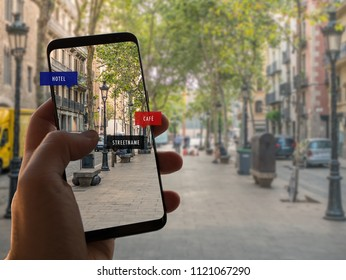 Augmented reality. Hand is holding a smart phone with AR app.