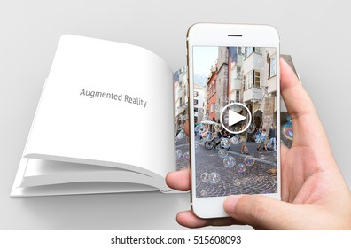 Augmented reality marketing concept. Hand holding smart phone use AR application to play video book for customer. 3d rendering