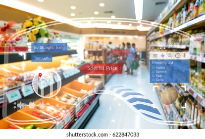 Augmented reality marketing and smart retail concept. Customer using 3d rendering AR glasses navigation application to buy shopping list items and find sale special price retail store mall.