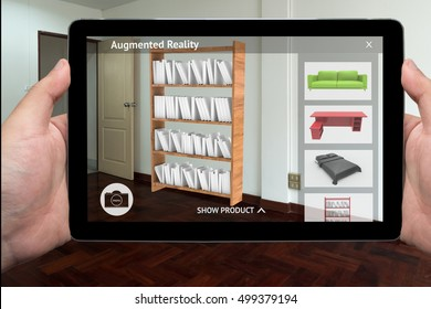 Augmented reality marketing technology concept. Hand holding tablet use AR application for simulate furniture and interior design products in room home. 3D rendering