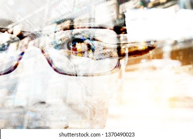 Augmented reality on smart AR glasses technology.Digital transformation disruption all industry technology , artificial intelligence concept. Double exposure of male face , circuit board in warehouse.