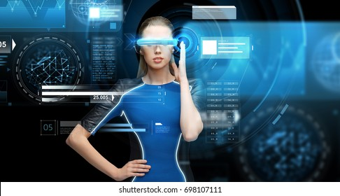 augmented reality, science, future technology and people concept - beautiful woman in futuristic 3d glasses with virual charts projection over black background