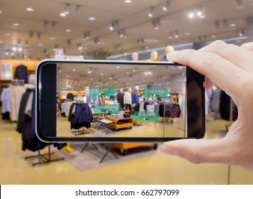 Augmented reality for smart retail business concept.hands holding mobile phone