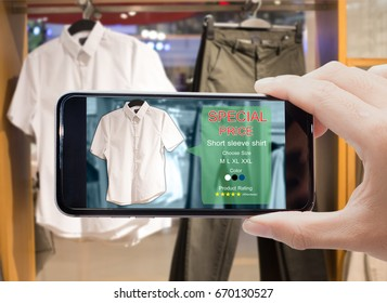 Augmented reality for smart retail business concept.hands holding mobile phones