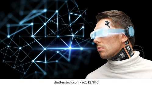 augmented reality, technology, business, future and people concept - man in virtual glasses and microchip implant or sensors over black background looking at low poly network projection