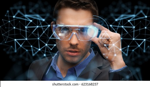 augmented reality, technology, business and people concept -businessman in virtual glasses looking at low poly network projection
